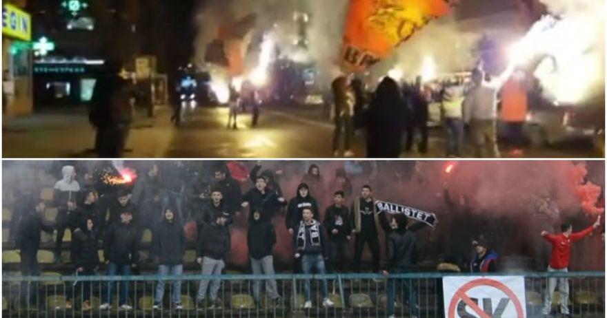 Комити  со караван   Балисти  на тренинг   навивачите го најавија дербито Вардар Шкендија