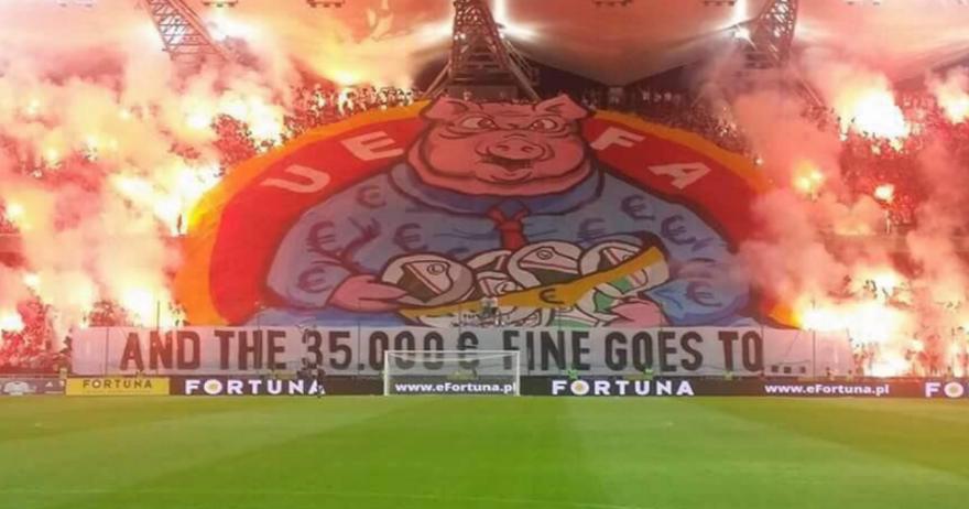 Навивачите на Легија до  гладната свиња  УЕФА    35 000 евра одат кај