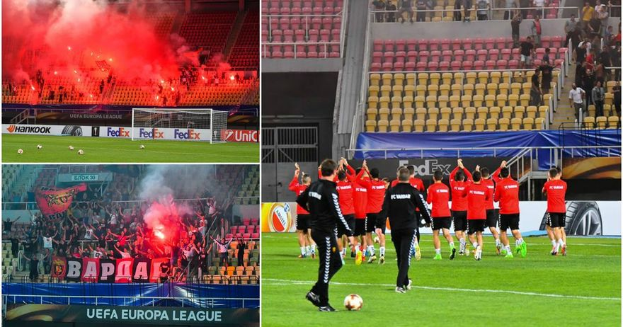 Вардар не е сам    Комитите  со песна ги поздравија фудбалерите пред Зенит
