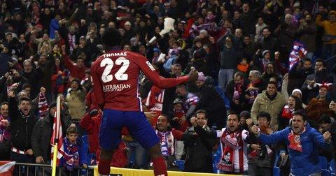 Томас се радува на првиот гол во дресот на Атлетико Мадрид
