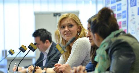 Индира Кастратовиќ на прес-конференција во Скопје
