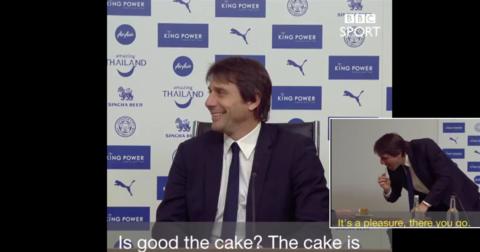 Антонио Конте торта на новинар